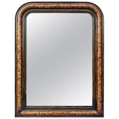 Antique Louis-Philippe Style Mirror, Faux Burl Wood, circa 1880