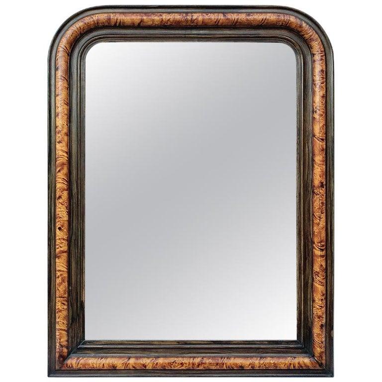 Antique Louis-Philippe Style Mirror, Faux Burl Wood, circa 1880 For Sale
