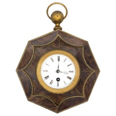 Antique Louis Philippe Wall Clock 8 Day Movement Tôle Enamel Bronze