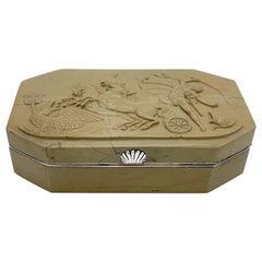 Antique Louis-Phillipe I, Mythology Scene Chariot Snuff Box Soapstone Silver