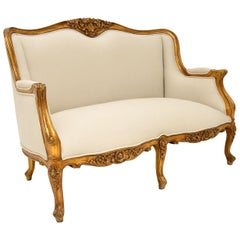 Antique Louis Style French Gilt Wood Sofa