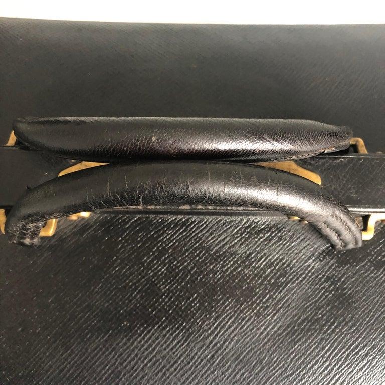 Antique Louis Vuitton Black Doctors Bag Sac Cabine Rare Travel Bag Early 20th C For Sale 7