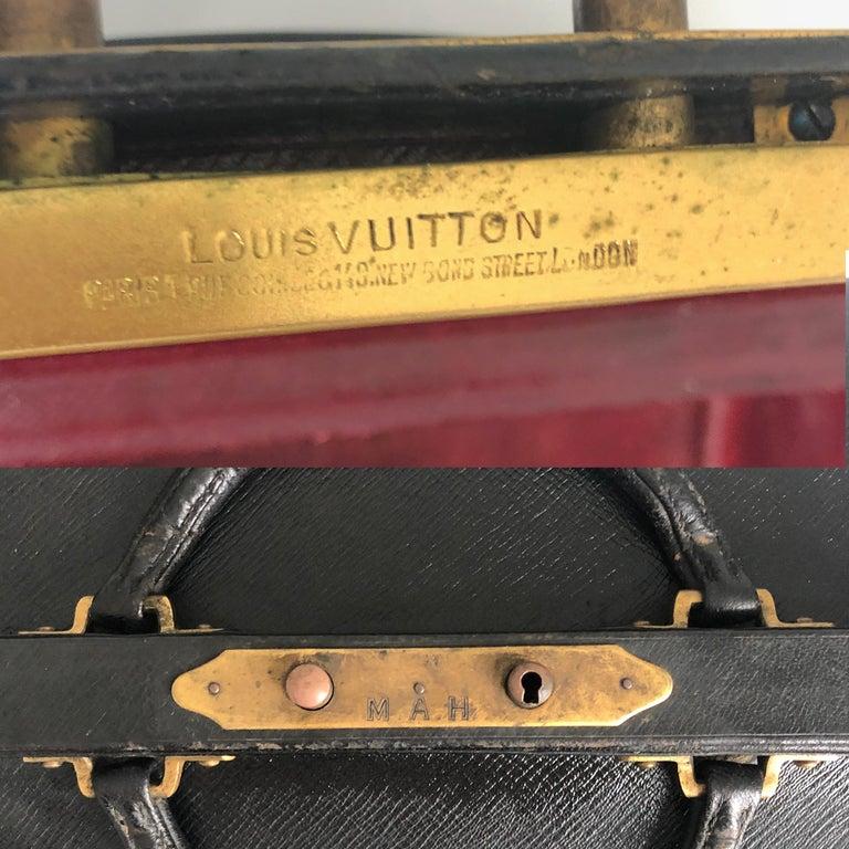 Antique Louis Vuitton Black Doctors Bag Sac Cabine Rare Travel Bag Early 20th C For Sale 8