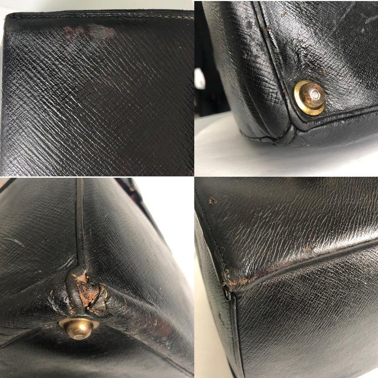 Antique Louis Vuitton Black Doctors Bag Sac Cabine Rare Travel Bag Early 20th C For Sale 9