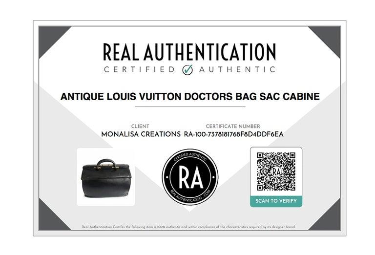 Antique Louis Vuitton Black Doctors Bag Sac Cabine Rare Travel Bag Early 20th C For Sale 10