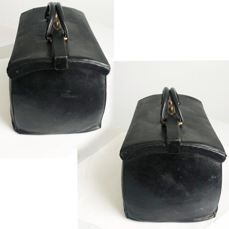 Antique Louis Vuitton Black Doctors Bag Sac Cabine Rare Travel Bag Early 20th C In Fair Condition For Sale In Port Saint Lucie, FL