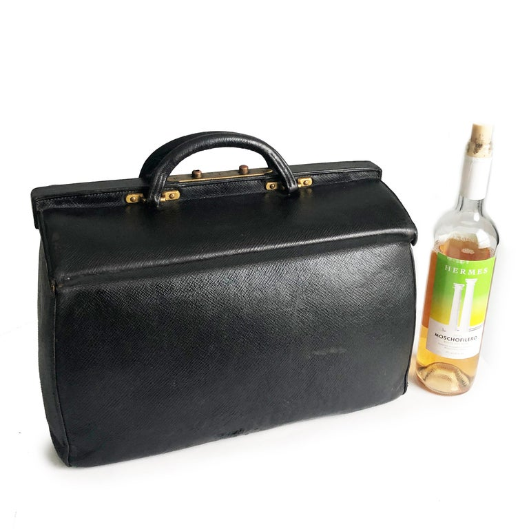 Antique Louis Vuitton Black Doctors Bag Sac Cabine Rare Travel Bag Early 20th C For Sale 1