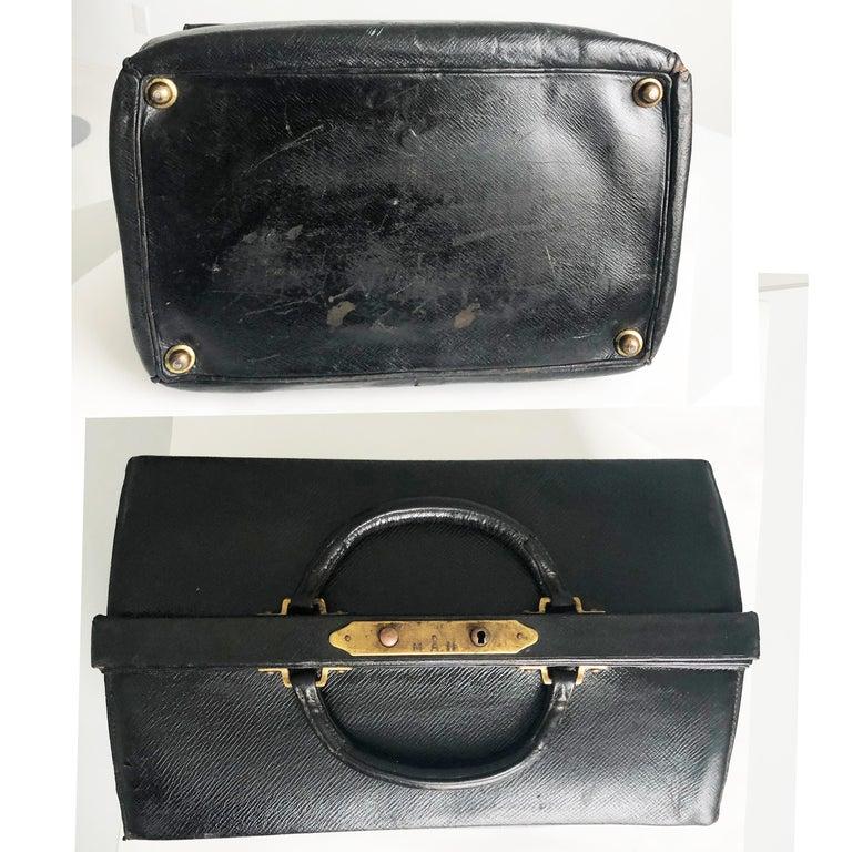 Antique Louis Vuitton Black Doctors Bag Sac Cabine Rare Travel Bag Early 20th C For Sale 2