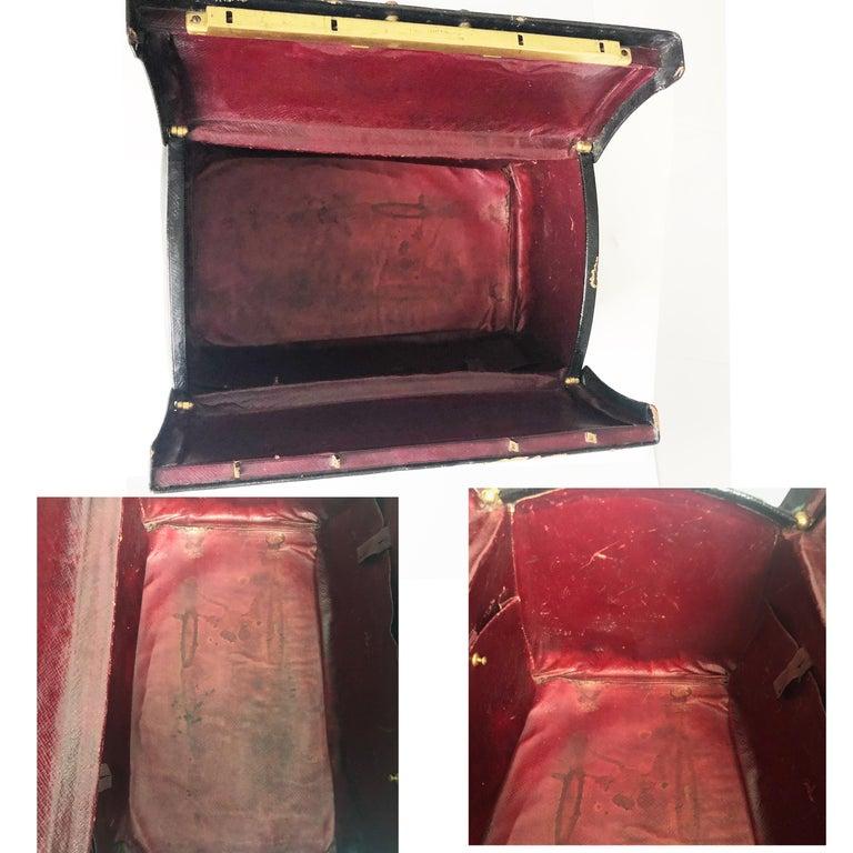 Antique Louis Vuitton Black Doctors Bag Sac Cabine Rare Travel Bag Early 20th C For Sale 4