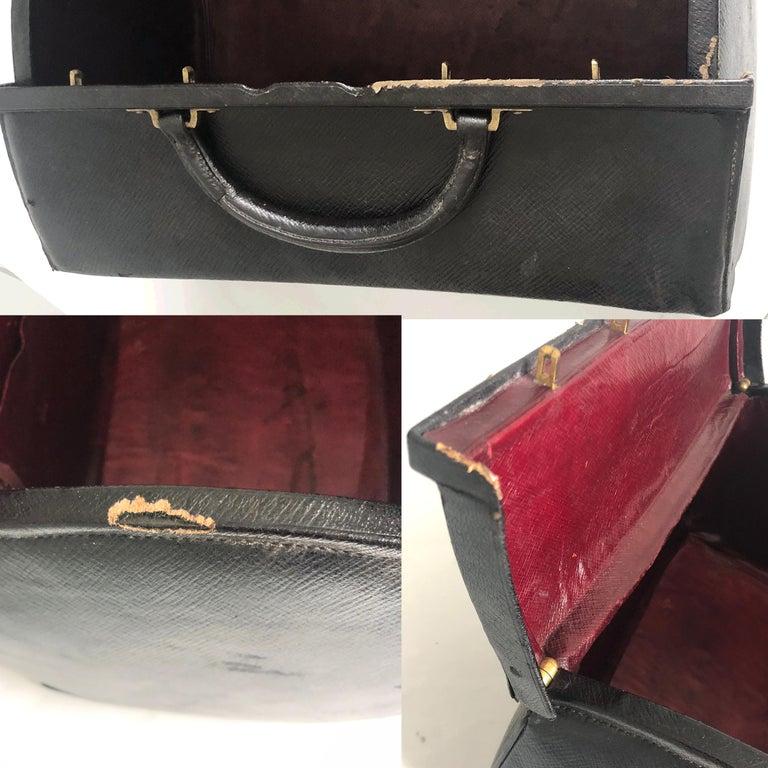 Antique Louis Vuitton Black Doctors Bag Sac Cabine Rare Travel Bag Early 20th C For Sale 5