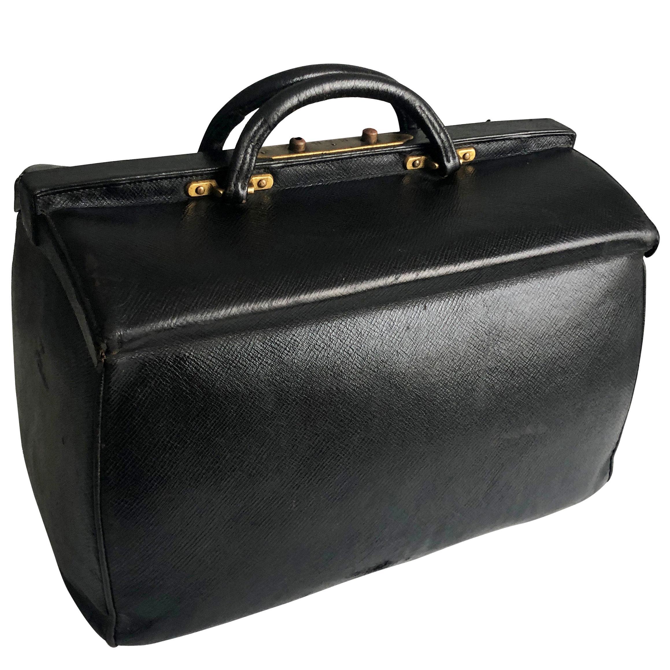 Antique Louis Vuitton Black Doctors Bag Sac Cabine Rare Travel Bag Early 20th C