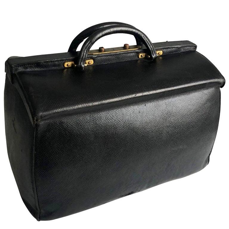 Antique Louis Vuitton Black Doctors Bag Sac Cabine Rare Travel Bag Early 20th C For Sale