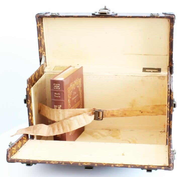 Antique Louis Vuitton Book Trunk Monogram Canvas Early 20th C Rare Home Decor  7