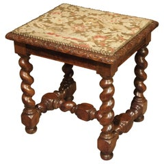 Antique Louis XIII Style Tabouret with Needlepoint, France, 19th Century