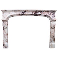 Antique Louis XIV Chimneypiece in Italian Breccia Violette Marble, 19th Century
