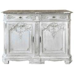 Antique Louis XIV Painted Marble Top Buffet