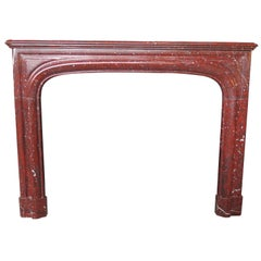 Antique Louis XIV Style 19th Century Red Griotte Marble Mantel
