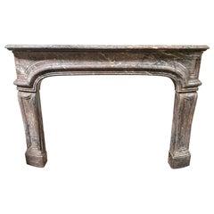Antique Louis XIV Style Fireplace in Enjugerais Marble