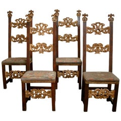 Set of Four 18th Century Italian Louis XIV Chairs