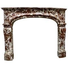 Antique Louis XV Belgium Red Marble Fireplace Surround Mantel