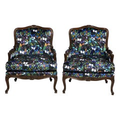 Antique Louis XV Bergère Chairs in Valentino Butterfly Silk, Pair