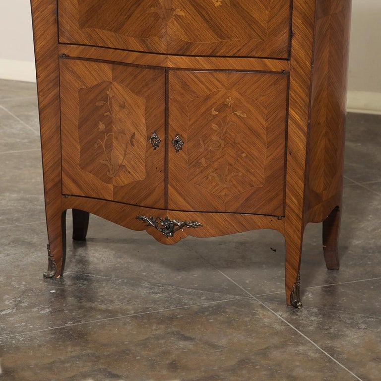 Antique Louis XV Bombe Marquetry Drop-Front Secretary In Good Condition For Sale In Dallas, TX