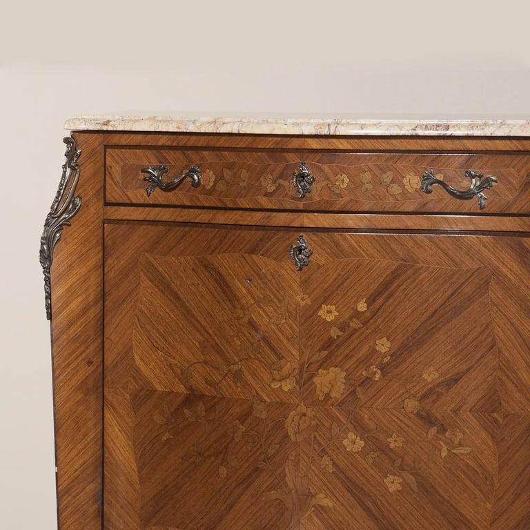 Antique Louis XV Bombe Marquetry Drop-Front Secretary For Sale 1