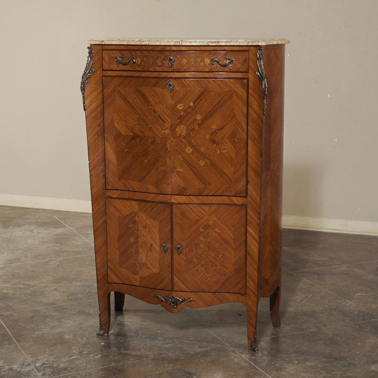 Antique Louis XV Bombe Marquetry Drop-Front Secretary For Sale 2