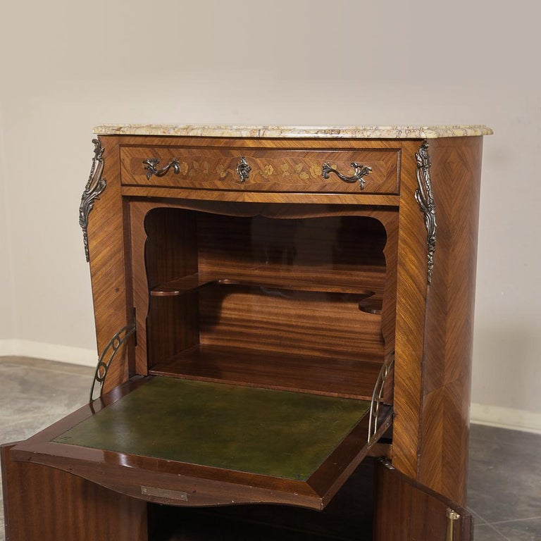 Antique Louis XV Bombe Marquetry Drop-Front Secretary For Sale 5