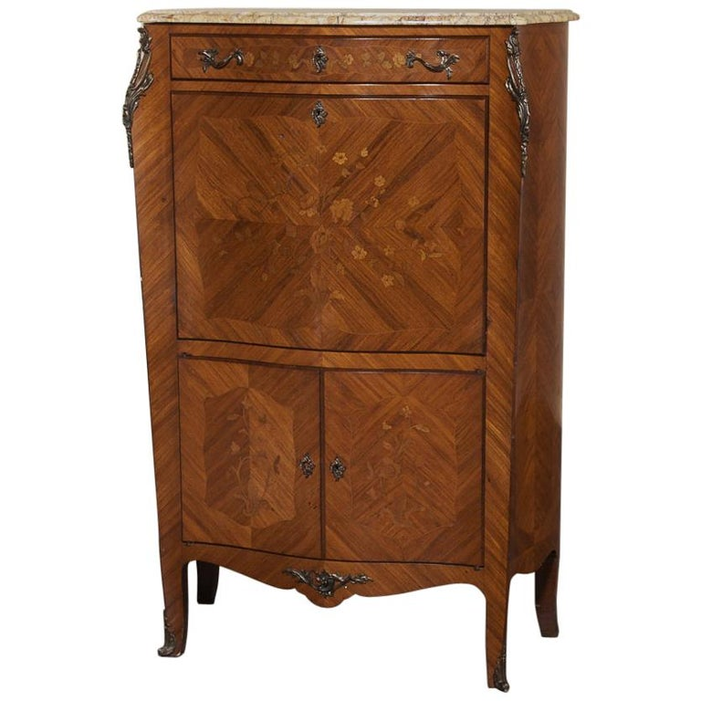 Antique Louis XV Bombe Marquetry Drop-Front Secretary For Sale