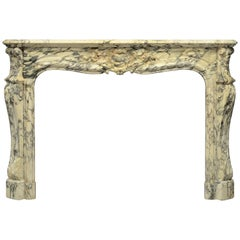 Antique Louis XV Fireplace Mantel in Striking Breche Marble