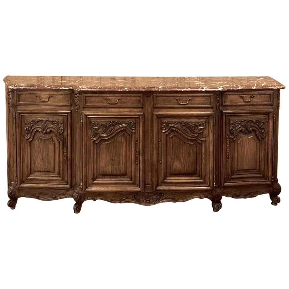 Country French Buffet Carved Solid Oak with Marble Top