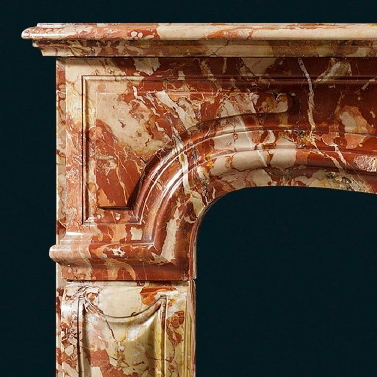 French Antique Louis XV Sarrancolin Fireplace Mantel For Sale