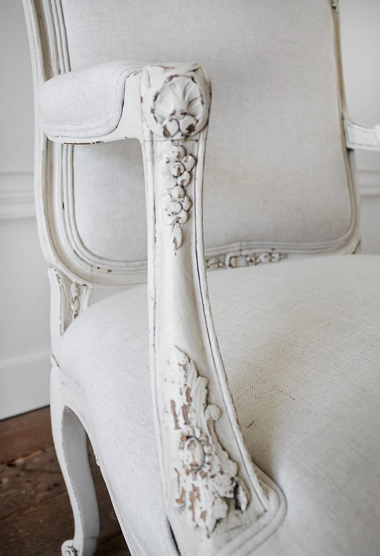Antique Louis XV Style French Painted and Upholstered Open Arm Chair For Sale 6