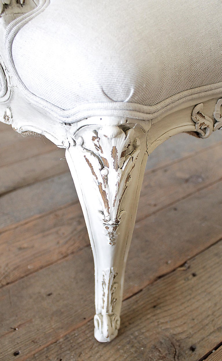Antique Louis XV Style French Painted and Upholstered Open Arm Chair For Sale 8