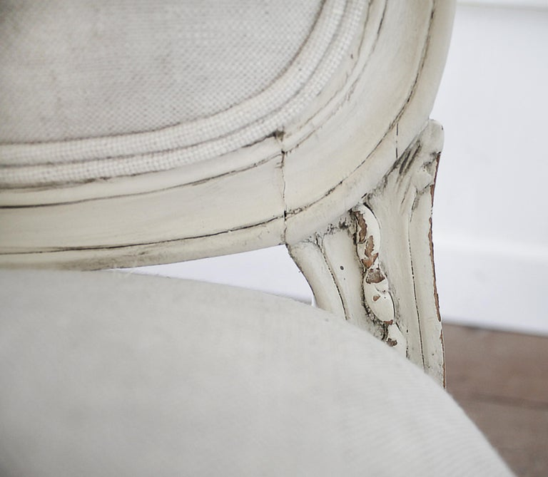 Antique Louis XV Style French Painted and Upholstered Open Arm Chair For Sale 9