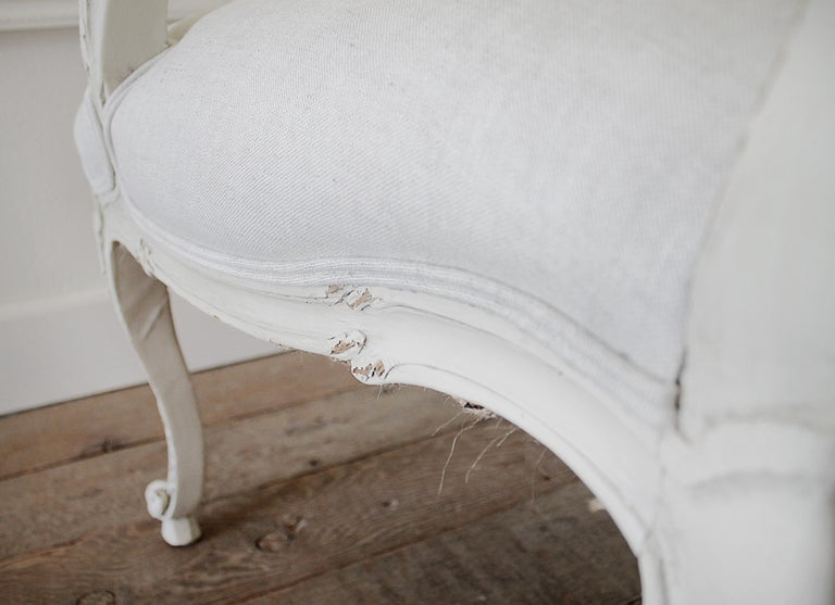 Antique Louis XV Style French Painted and Upholstered Open Arm Chair For Sale 13
