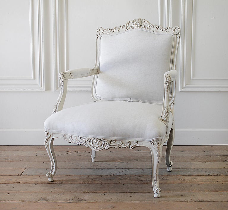European Antique Louis XV Style French Painted and Upholstered Open Arm Chair For Sale