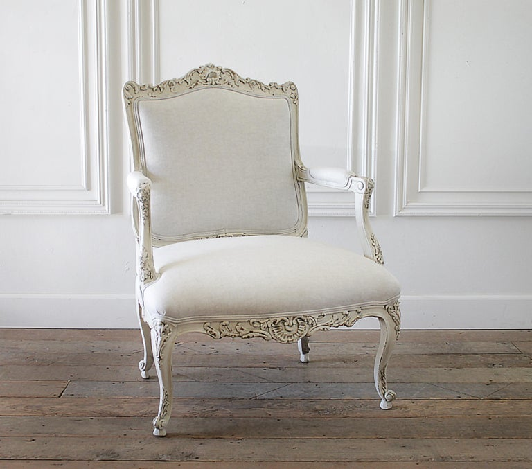 Antique Louis Xv Style French Painted And Upholstered Open
