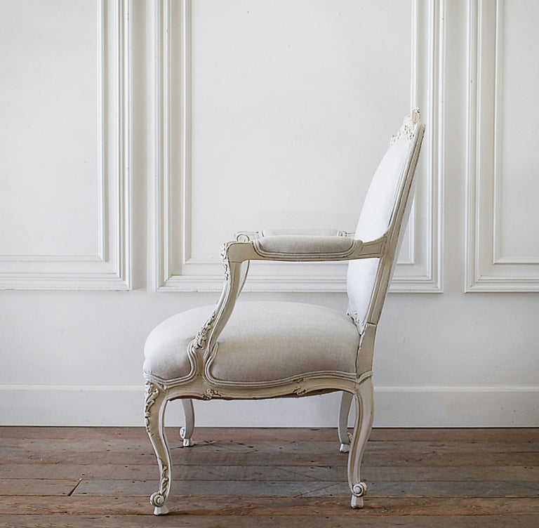 Antique Louis XV Style French Painted and Upholstered Open Arm Chair In Good Condition For Sale In Brea, CA