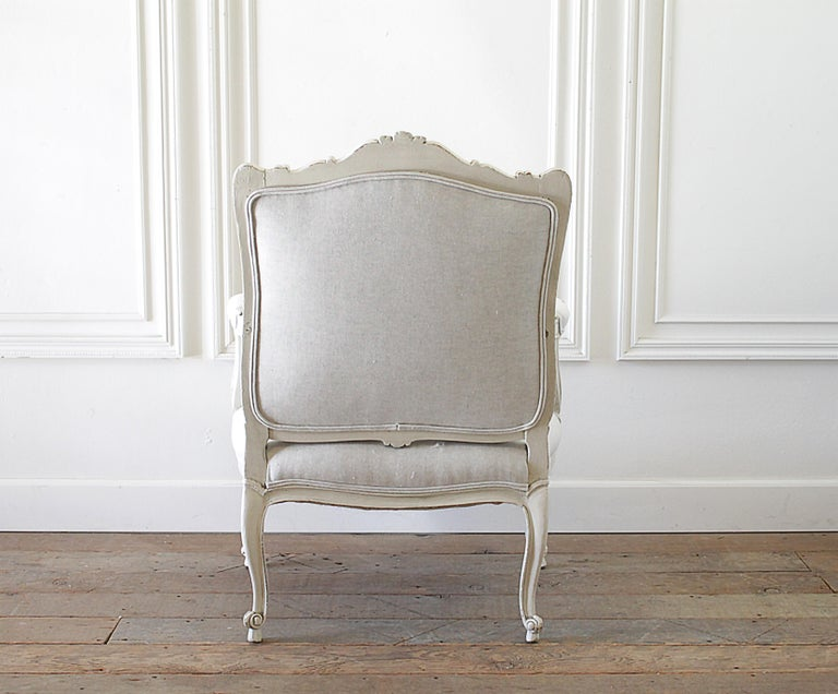 20th Century Antique Louis XV Style French Painted and Upholstered Open Arm Chair For Sale
