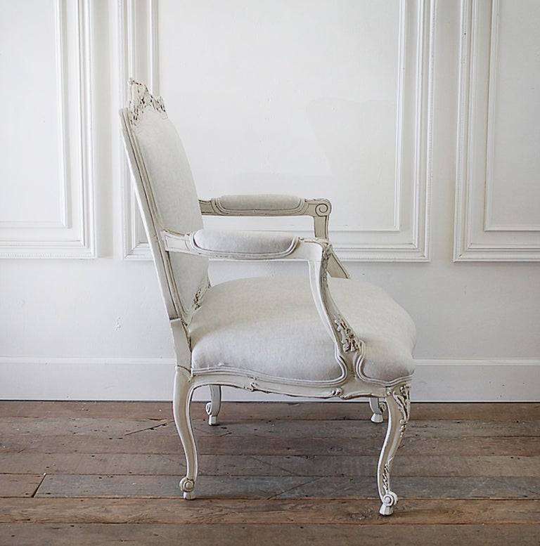 Linen Antique Louis XV Style French Painted and Upholstered Open Arm Chair For Sale