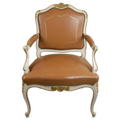 Antique Louis XV Style Brown Leather Chair