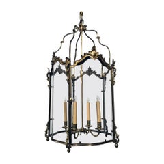 Antique Louis XV Style Five-Panel Bronze Hall Lantern
