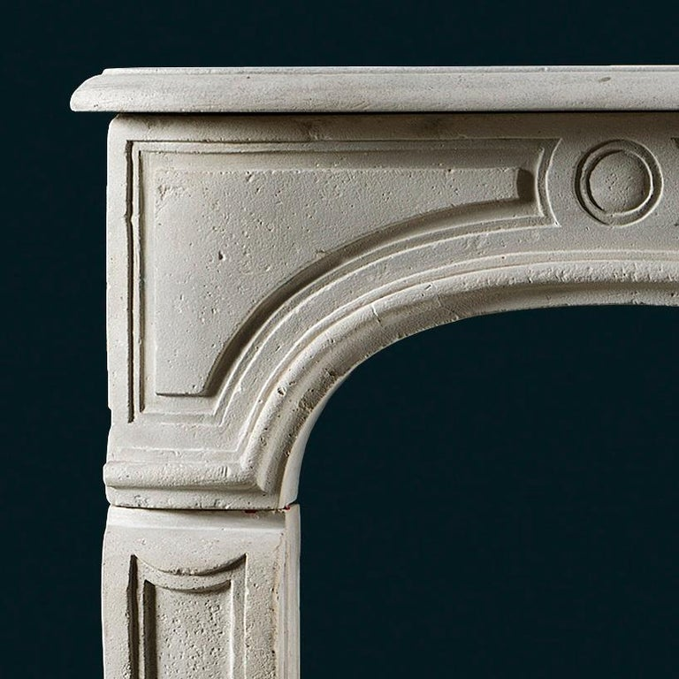 French Antique Louis XV Style Limestone Fireplace Mantel For Sale
