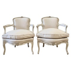 Antique Louis XV Style Open Arm Chairs in Linen