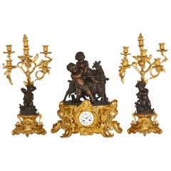 Antique Louis XV Style Ormolu and Patinated Bronze Clock Set by Denière et FIls