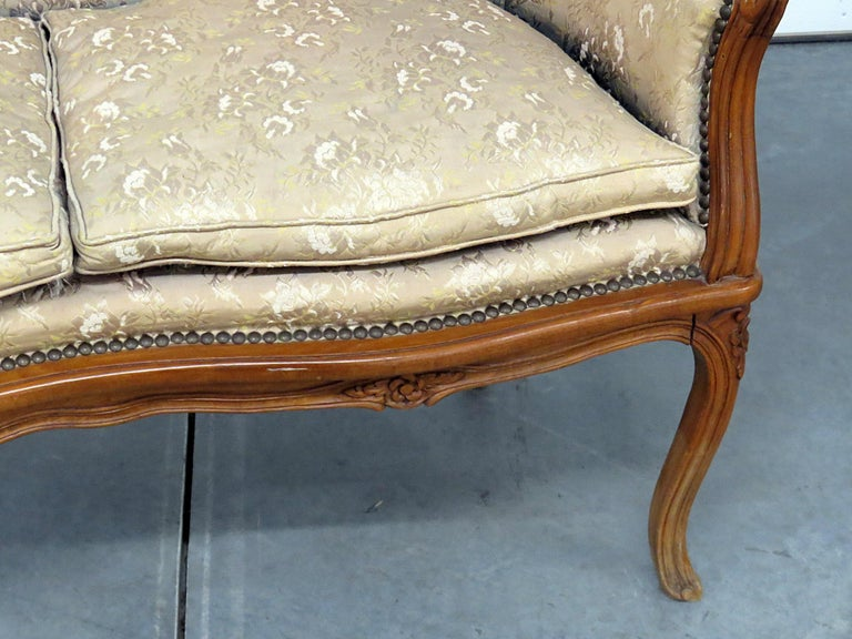 20th Century Antique Carved Walnut Louis XV Style Settee Sofa Canape For Sale