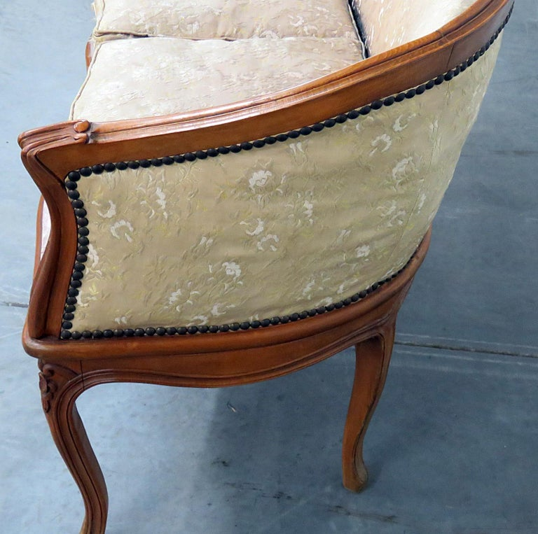 Antique Carved Walnut Louis XV Style Settee Sofa Canape For Sale 1