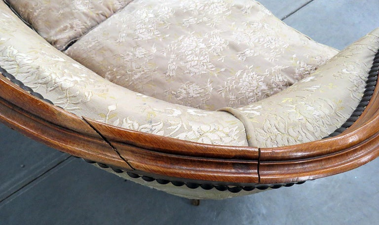 Antique Carved Walnut Louis XV Style Settee Sofa Canape For Sale 5
